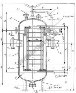 1 - Корпус, 2 - Крышка, 3 - Фильтрующий элемент, 4 - Опара, 5 - Подьемно-поворотное устройство, 6 - Строповое устройсво
